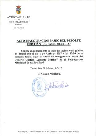 Inauguración Paseo del Deporte 'Cristian Ledesma Murillo'.
