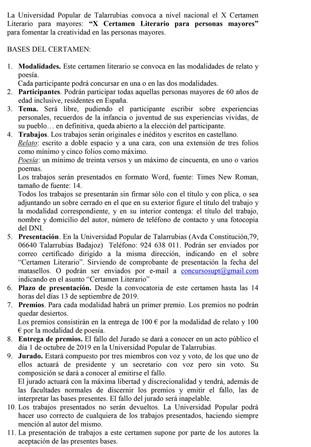 Bases 'X Certamen Literario para Personas Mayores'.