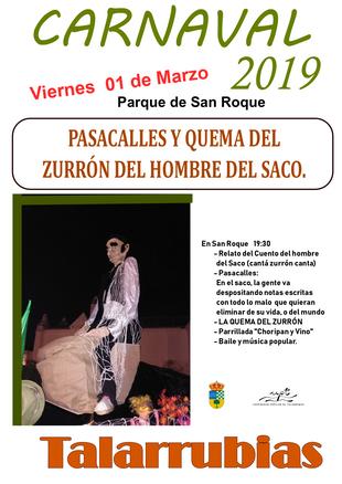 Carnaval 2019: Pasacalles y quema del zurrón del hombre del saco.