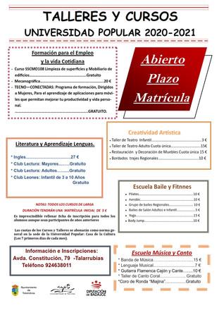 Talleres y cursos que se ofertan desde la Universidad Popular para el curso 2020/21.