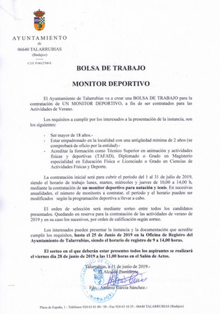 Bolsa de trabajo: Monitor Deportivo.