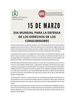 DIA MUNDIAL PARA LA DEFENSA DE LOS DERECHOS DE LOS CONSUMIDORES.