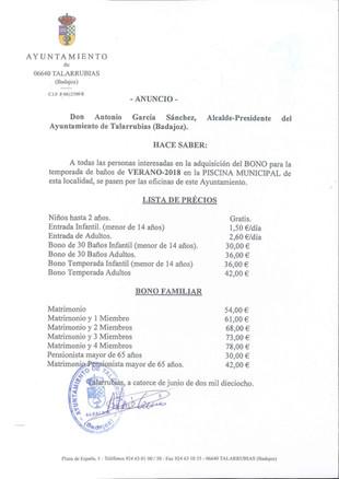 Anuncio: lista de precios piscina temporada 2018.