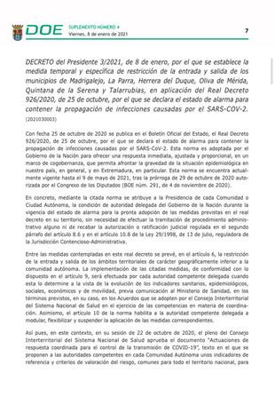 Publicado el DOE donde se establece el cierre perimetral de Talarrubias.
