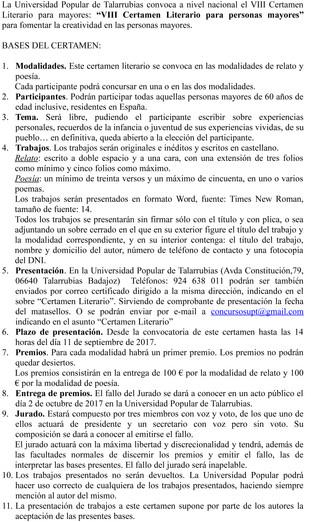 VIII Certamen Literario para mayores.