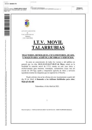 I.T.V AGRÍCOLA EN TALARRUBIAS.