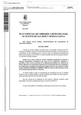 PLAN ESPECIAL DE CRIBADOS A DEMANDA PARA EL PUENTE DE SAN JOSÉ Y SEMANA SANTA.