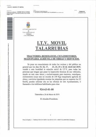 Bando: ITV Móvil Talarrubias