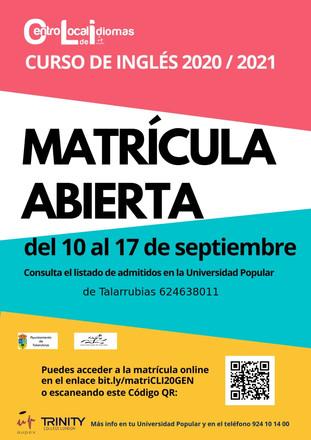 CURSO DE INGLÉS. Matrícula abierta del 10 al 17 de Septiembre.
