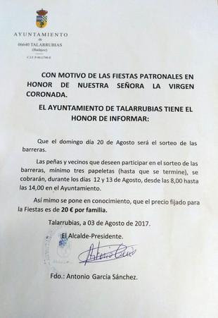 Sorteo Barreras 2017.