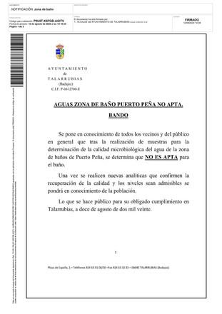AGUAS ZONA DE BAÑO PUERTO PEÑA NO APTA.