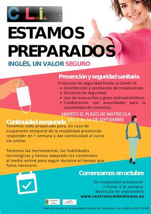 Abierto el plazo de matricula para los cursos de ingles del 9 al 14 de septiembre. Protocolo de segu