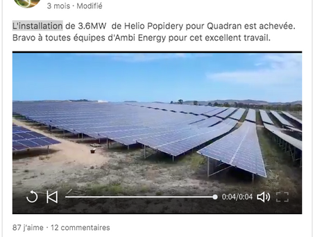 Vidéo - Helio Popidery 3.6MWc - Quadran Direct Energie - Nouvelle-Calédonie