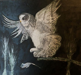Painting of a white owl hunting a rodent