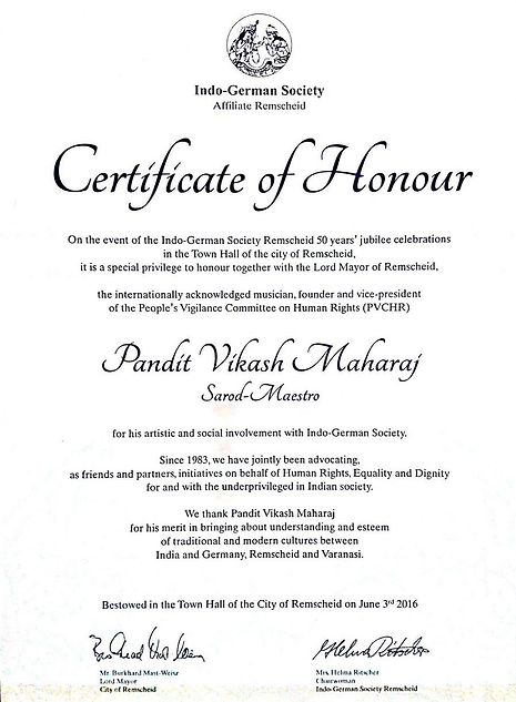 Certificate of Honour, Vikash Maharaj, German Honour
