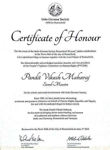 Certificate of Honour, Vikash Maharaj, German Honour