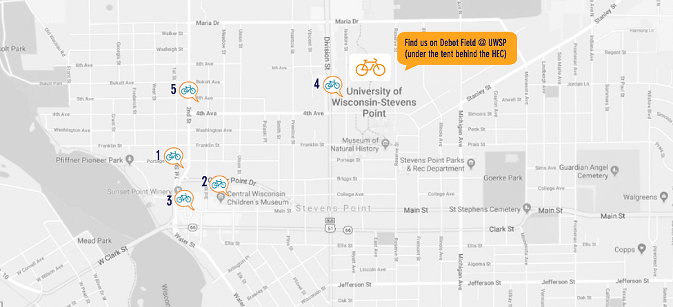 Stevens Point Campus Map.Free Fun Bicycle Festival Stevens Point Babblers Bike Fest