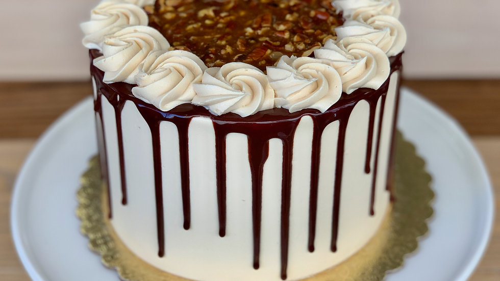 Chocolate Caramel Turtle Cake