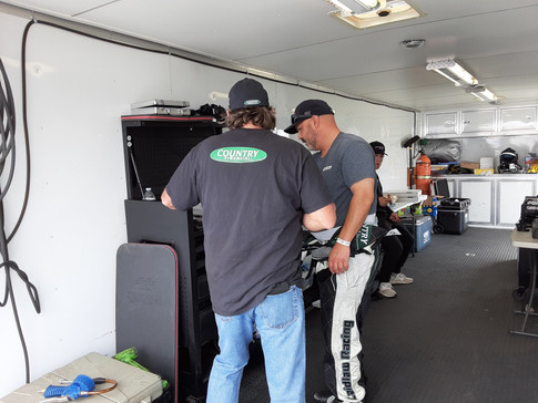 Stu and crew chief Dave working out some adjustments