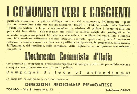 Volantino del MCd'I - Torino 1945