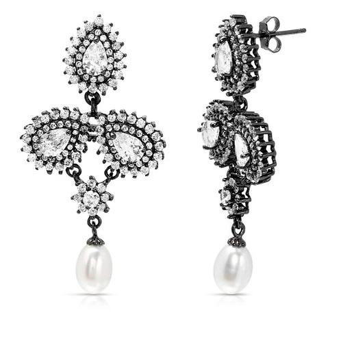 Pearl CZ and Fresh Water Pearl Earrings