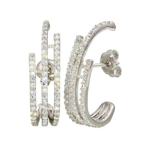 Cubic Zirconia Bar Earrings in Sterling Silver