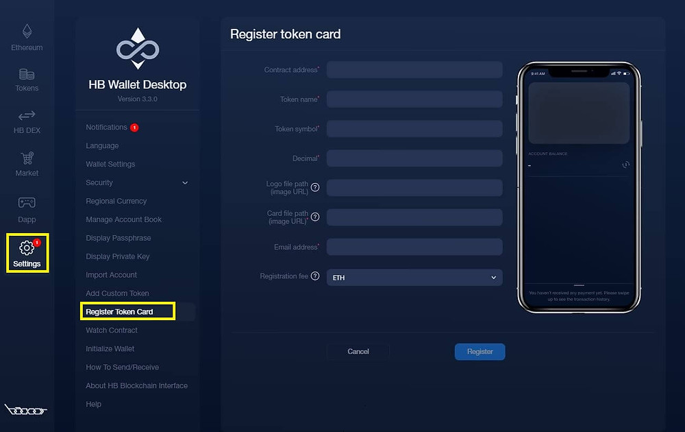 Go to Settings then choose Register Token Card