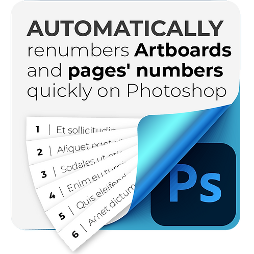 Automatically renumbers Artboards and pages' numbers quickly on Photoshop