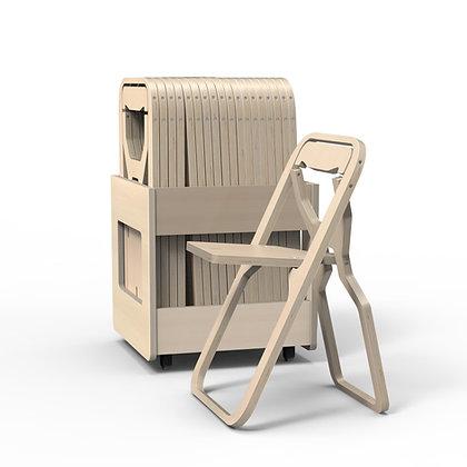 """Rack 20 chaises pliantes INFINE """"NATURAL"""""""