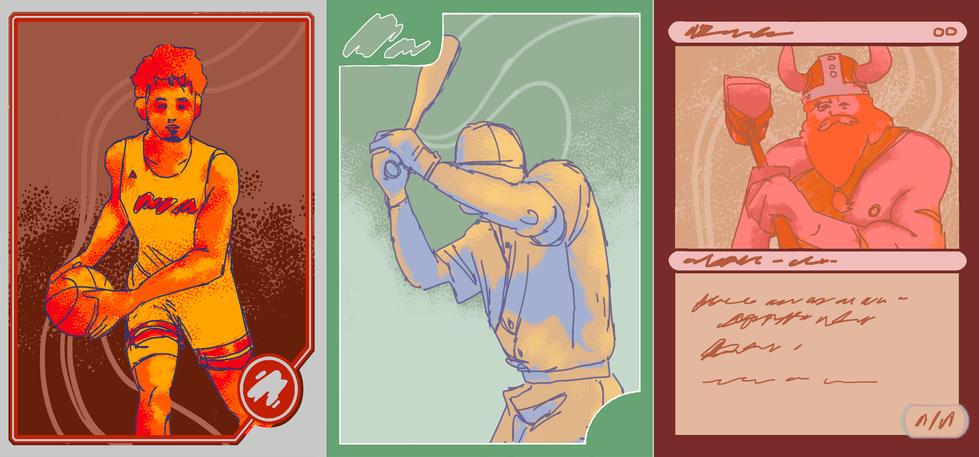 Trading cards trio