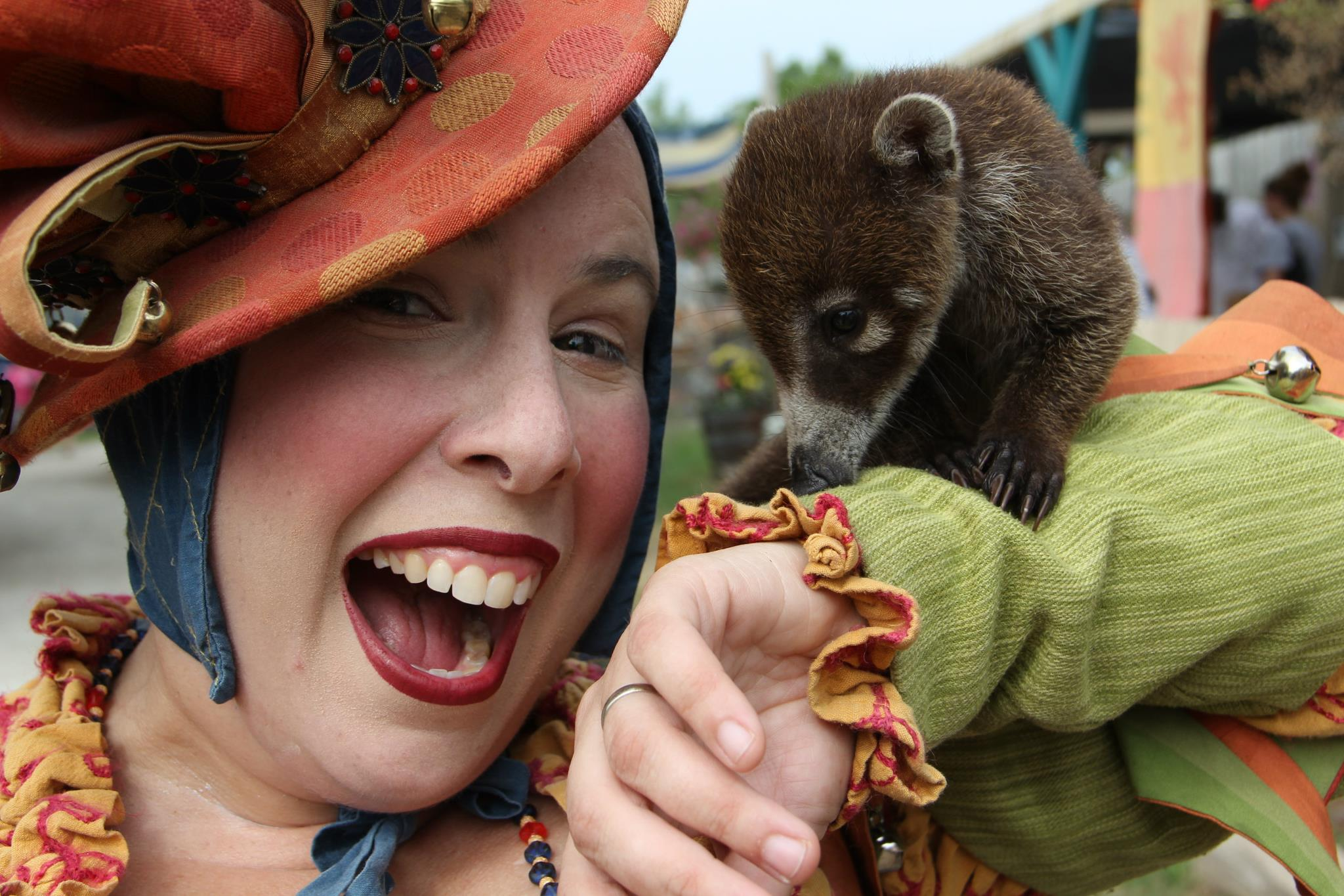 Jane with Myrtle the Coati