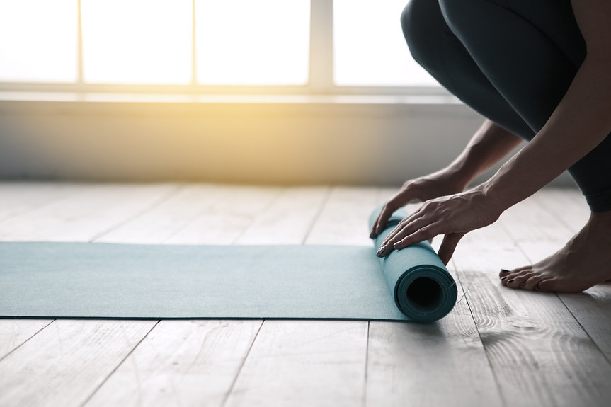 Young Woman Doing Yoga Twist Mat Healthy