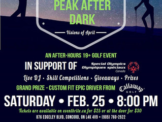 Come and see us at Peak Performance Golf Vaughan's Peak After Dark event on February 25, 2017.
