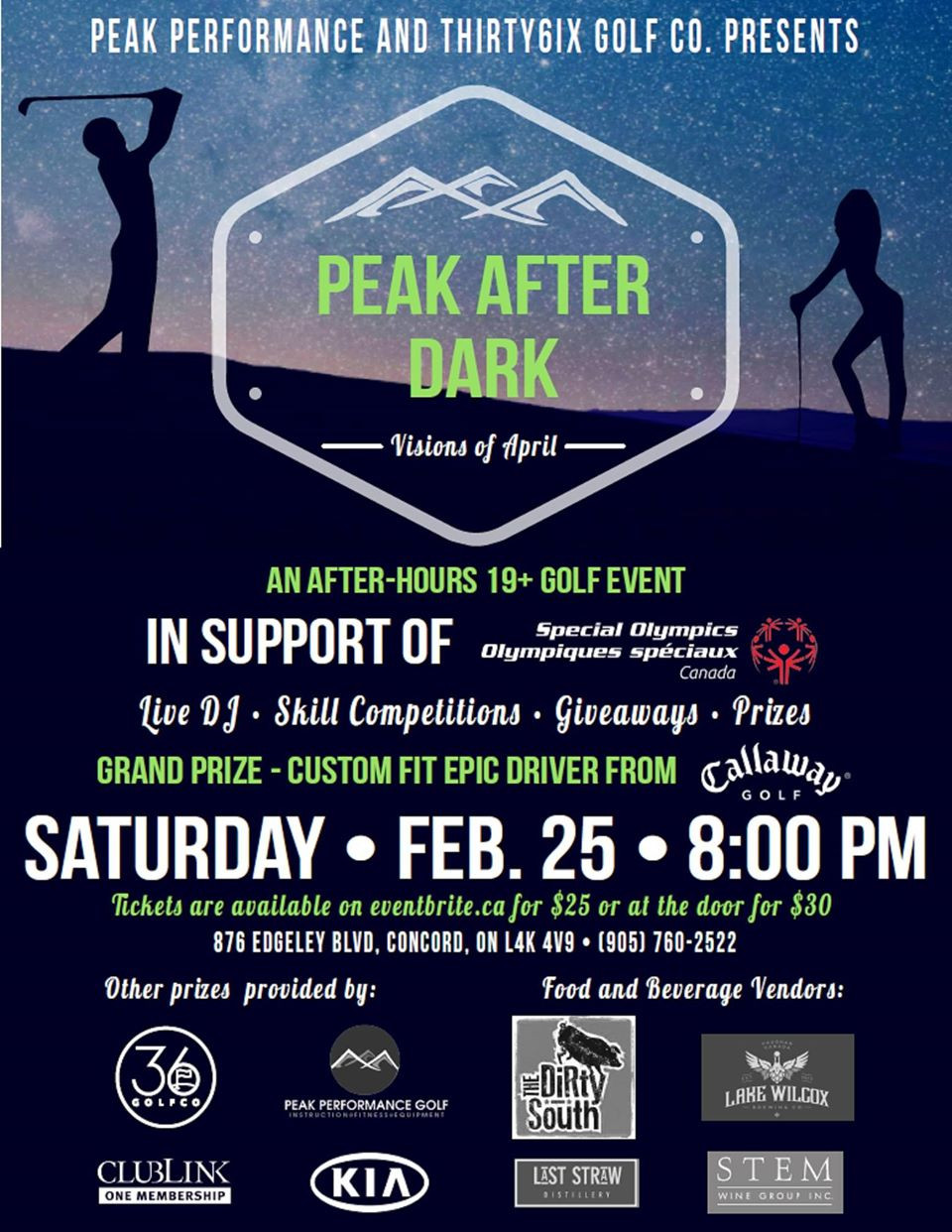 Come and see us at Peak Performance Golf Vaughan's Peak After Dark event on Feburary 25, 2017. We'll be pouring samples to help with your swing!