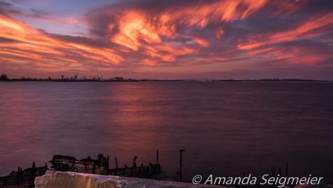 Pink Sunset off Stockton Breakwall