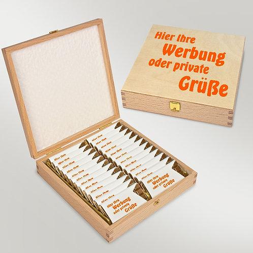 Schokotäfelchen Vollmilch im Holzetui - individuell bedruckt