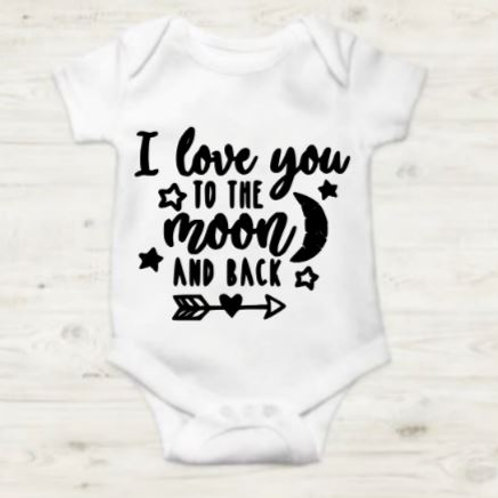 I love you to the moon and back white onesie