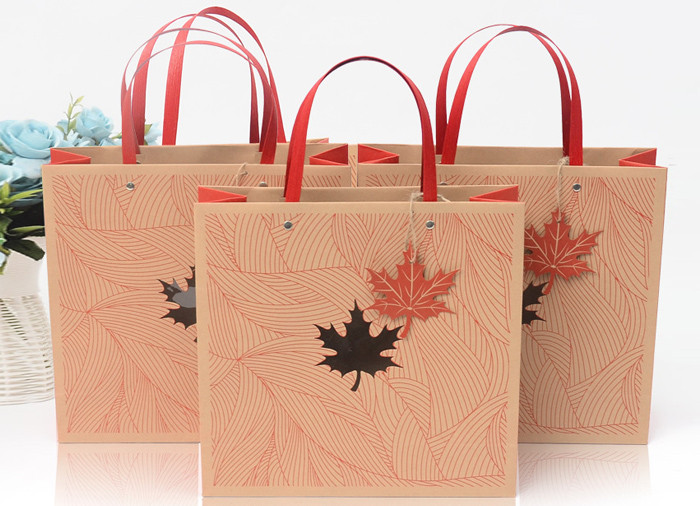 Luxury red color printed kraft gift bags with flat handle and window