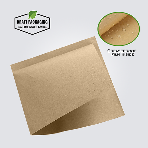 Triangular shape open greaseproof Kraft paper bag for pastry doughnut