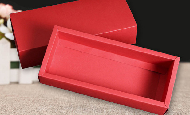 red color kraft paper drawer box