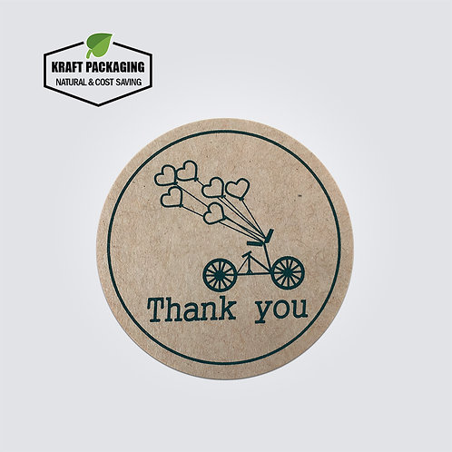 Kraft paper round Thank You text sticker with hearts printed labels