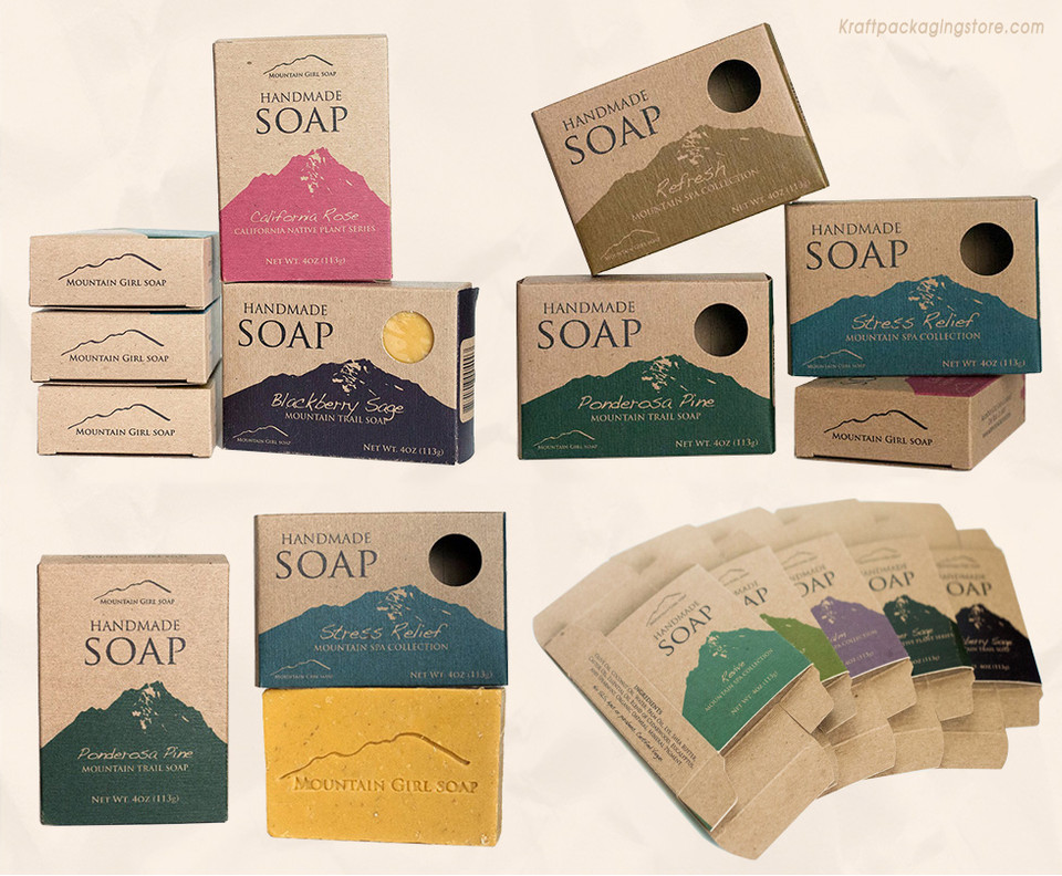 Kraft soap boxes with window for handmade soaps
