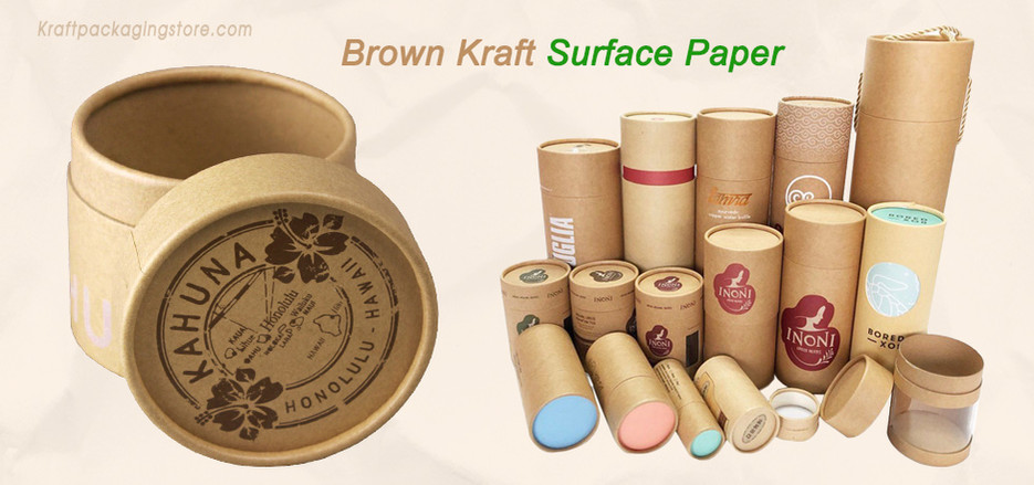 Custom cardboard tubes with Kraft surface