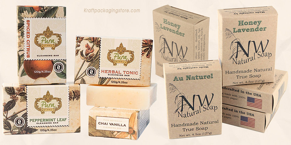 Custom kraft soap boxes wholesale logo printed