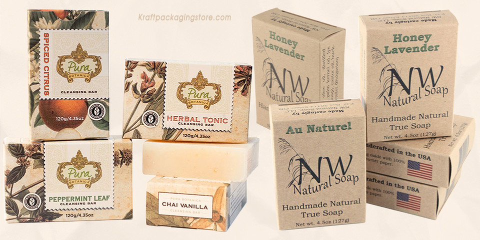 Custom kraft soap boxes wholesale logo printed