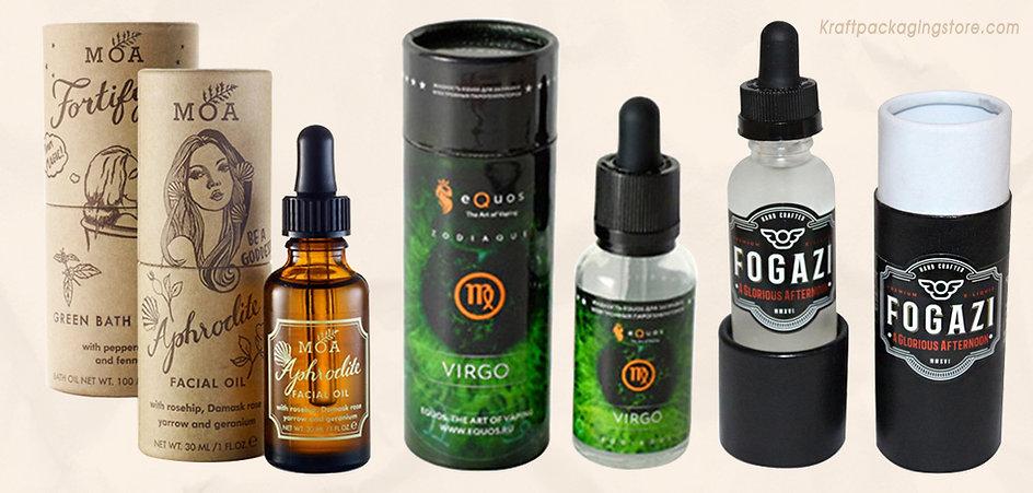 Custom cardboard packaging tubes for essential oil bottles