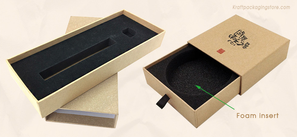 Customize Rigid slide drawer boxes with foam insert