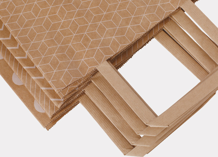 Kraft paper gift bags with quality wide flat paper handles