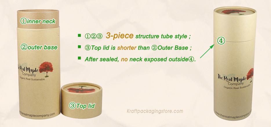 3 pieces short cap lid style paper tubes
