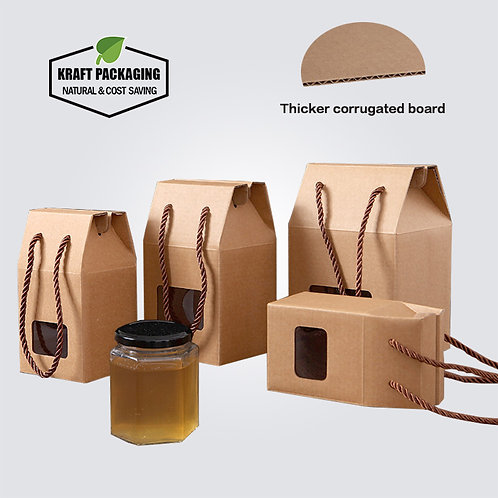 Corrugated board tea honey jar storage packaging box with window and handle